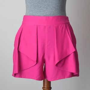 Parker Origami Ruffle Front Silk Shorts